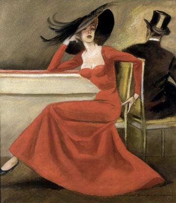 """M. Dudovich, L'abito rosso, 1954-55. Tempera e carboncino su carta, 49x43 cm. Varese, collezione privata - Fonte: """"R. Curci, Marcello Dudovich. Oltre il manifesto"""""""