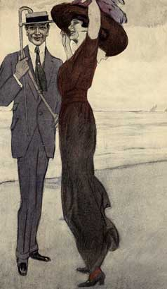 """M. Dudovich, In riva al mare, 1910 ca. Prova di stampa di tavola per l'album """"Corso"""", 20 x 27 cm. (Ed. Albert Langen, ried. Lint Trieste, 1985). Fonte: F. Farina, """"Il mare di Dudovich"""""""