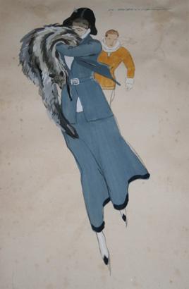 M. Dudovich, Bozzetto per moda sportiva invernale, 1925, 50 x 40 cm.. Acquarello su carta. (Collezione privata RB, Torino). Fonte: www.marcellodudovich.it