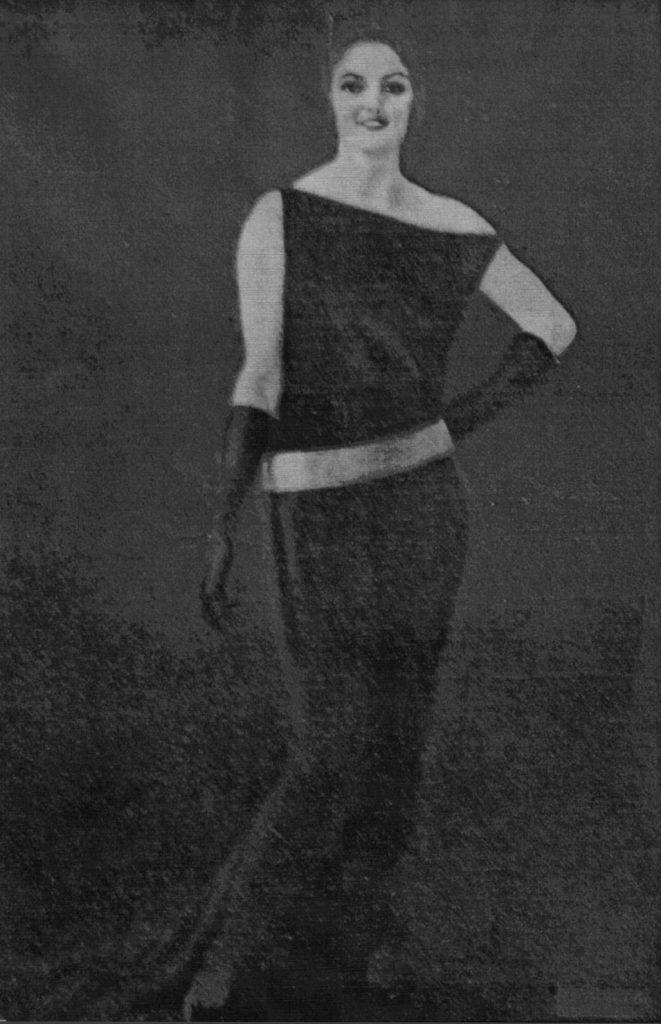 """M. Dudovich, Ritratto di Pina Brillante, olio su tela, esposto alla XII Biennale di Venezia, 1922, foto d'epoca - Fonte: """"M.A. de Caterina, Marcello Dudovich: le decorazioni murali (1906 - 1947), tesi di laurea, a.a. 1999/2000""""."""