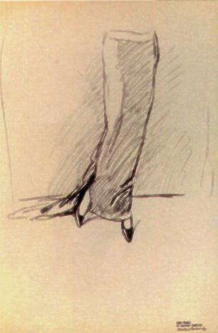 """M. Dudovich, Studio di moda per gonna, lapis su carta, 50x34,5 cm - Fonte: G. Granzotto, """"Marcello Dudovich"""", 1999"""