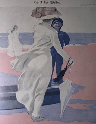 """M. Dudovich, Gioco delle onde, illustrazione per """"Simplicissimus"""", 1910 Fonte: www.marcellodudovich.it"""