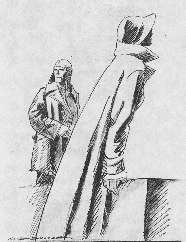 """Disegno di M. Dudovich per pubblicizzare un articolo intitolato Moda e aviazione, su una rivista d'epoca (1932) – Fonte: """"M.A. de Caterina, Marcello Dudovich: le decorazioni murali (1906 - 1947), tesi di laurea, a.a. 1999/2000""""."""