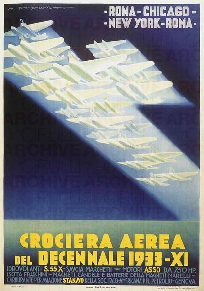 """Manifesto di M. Dudovich per la """"Crociera Aerea del Decennale 1933"""", 140x100, (stampa IGAP, Milano)"""