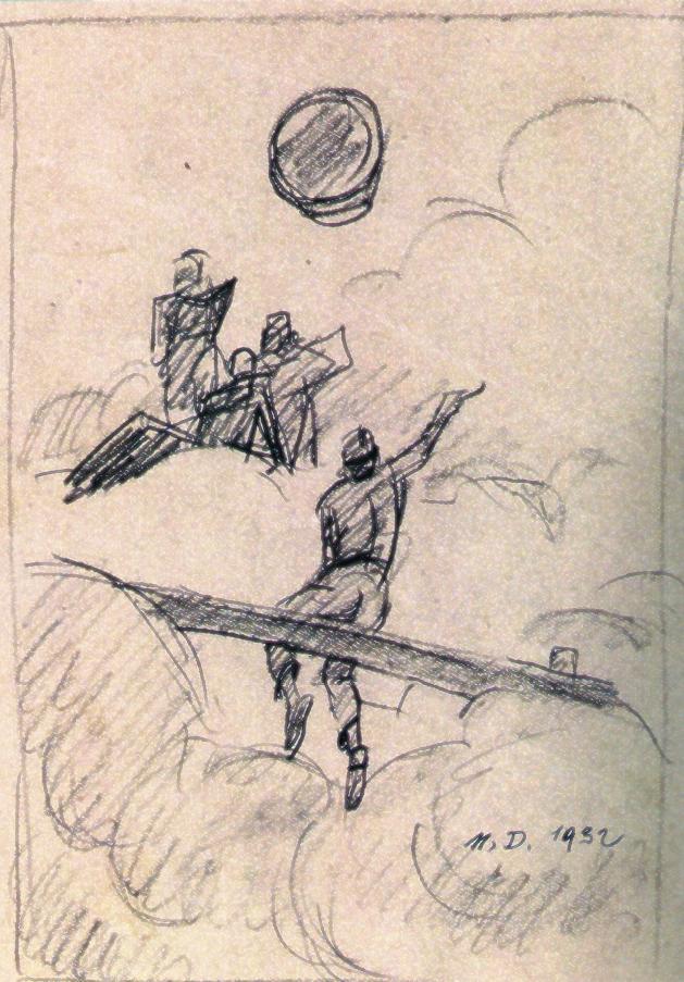 """Disegno di M. Dudovich, lapis su carta 23,5x16 cm: studio per le tempere del ministero dell'Aeronautica, firmato e datato 1932 - Fonte: G. Granzotto, """"Marcello Dudovich"""", 1999"""
