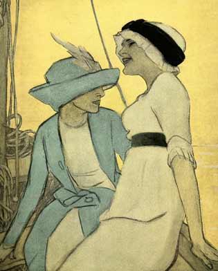 """M. Dudovich, Sulla barca, 1910 ca. Prova di stampa di tavola per l'album """"Corso"""", 20 x 24 cm. (Ed. Albert Langen, ried. Lint Trieste, 1985). Fonte: F. Farina, """"Il mare di Dudovich"""""""
