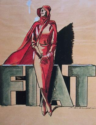 M. Dudovich, Bozzetto preparatorio per studio di pubblicità FIAT su rivista editoriale, 1934, acquarello su carta , 32 x 46 cm. Archivio Centro Storico Fiat . Fonte: www.marcello dudovich.it