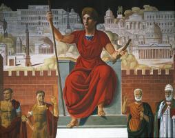 """Achille Funi, Scene della mitologia greca a romana e la dea Roma, particolare dell'affresco """"Tutte le strade conducono a Roma"""", 1943. EUR, Palazzo dei Congressi (Roma)"""