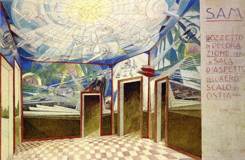Bozzetto per la decorazione dell'idroscalo di Ostia (1928), acquerello e gouache su cartoncino, cm 53 x 85. Fonte: http://www.futur-ism.it/
