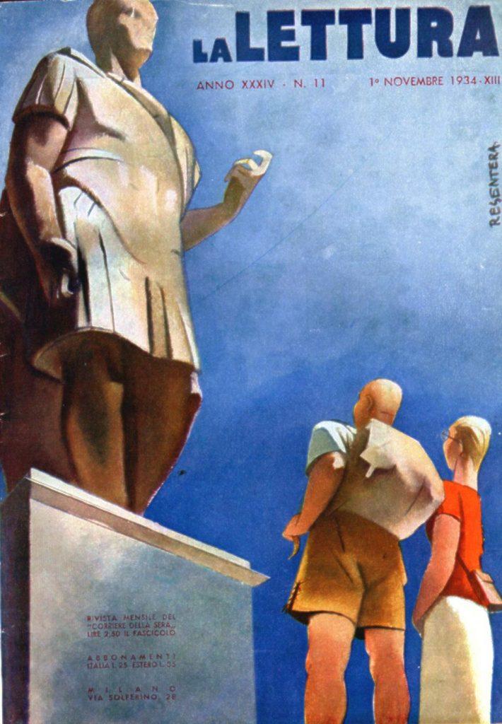 """Walter Resentera, Copertina a colori, in """"La Lettura"""", novembre 1934 – Fonte: """"M.A. de Caterina, Marcello Dudovich: le decorazioni murali (1906 - 1947), tesi di laurea, a.a. 1999/2000""""."""